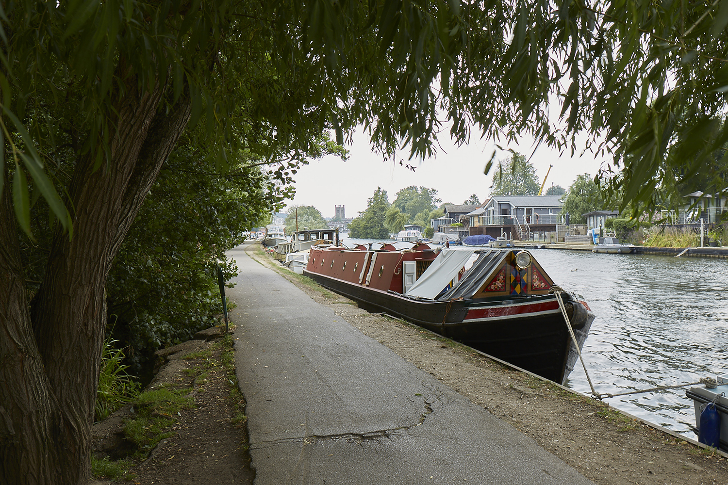 Henley Town Council - boat moored under the cover of trees