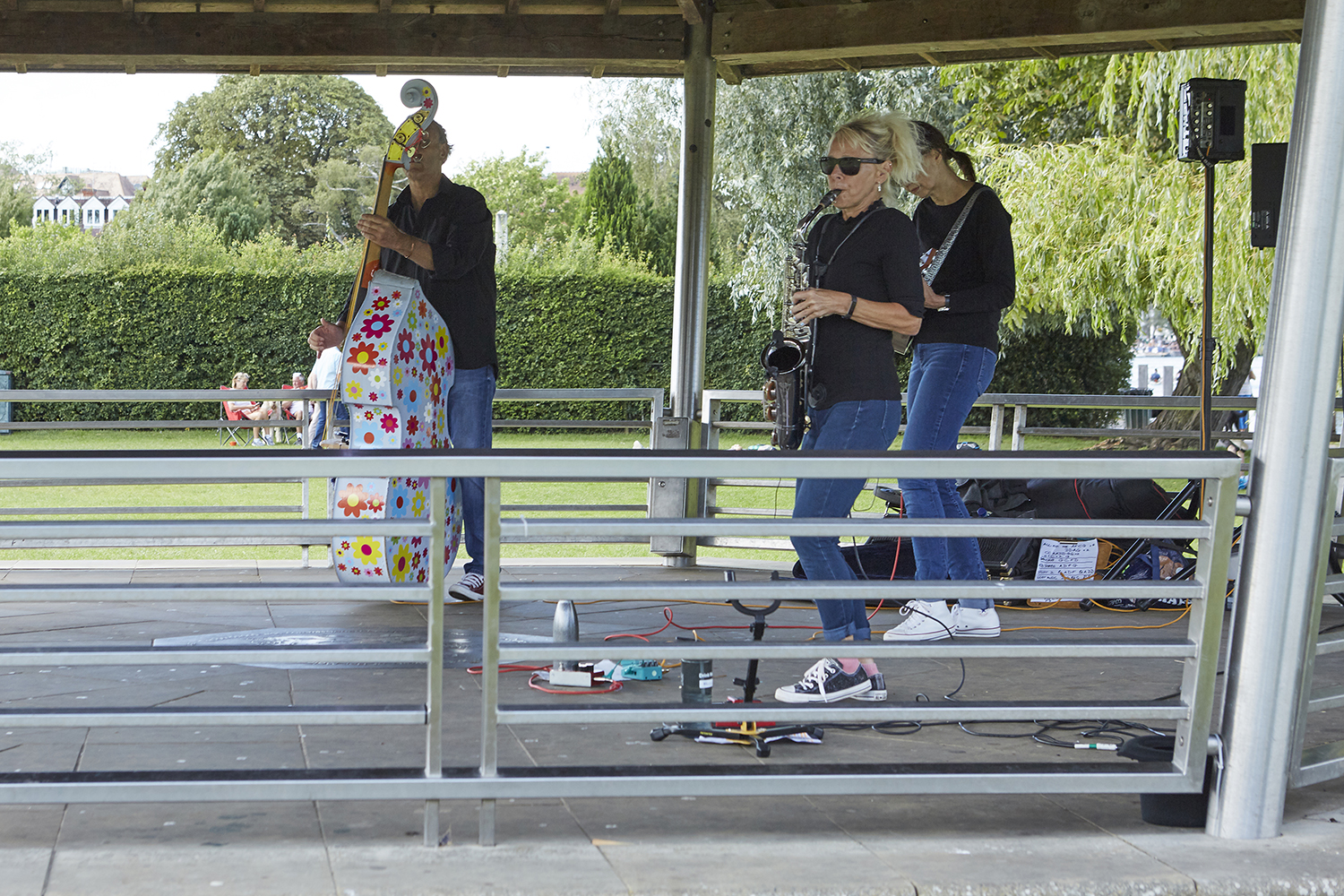 Henley Town Council - people using the Bandstand at Mill Meadows