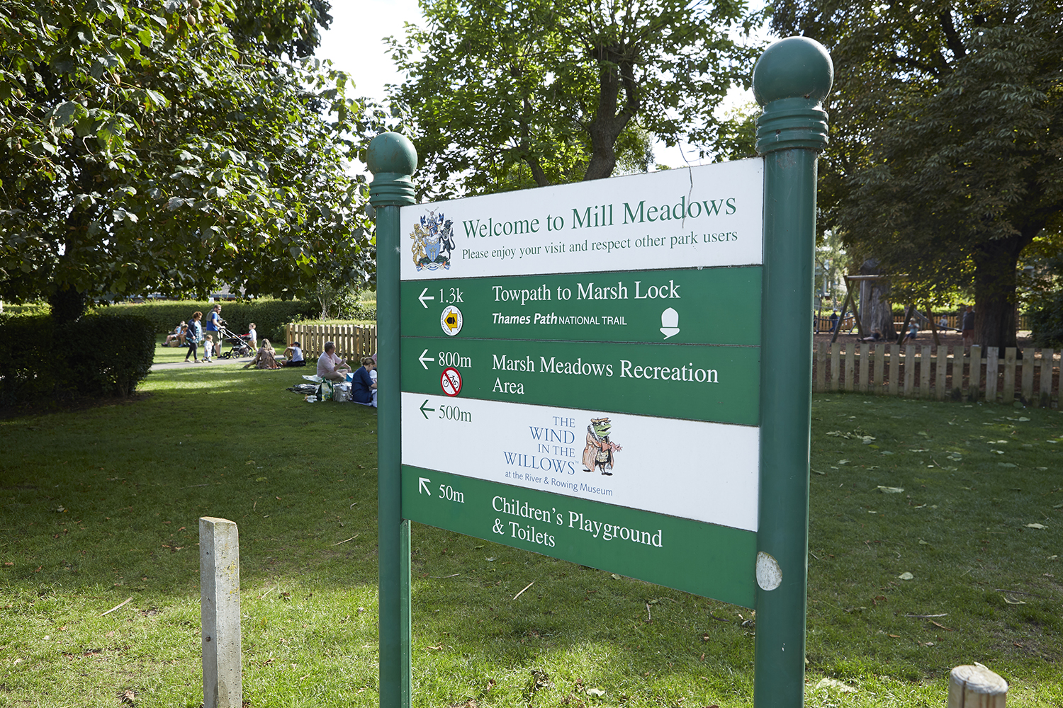 Henley Town Council - welcoming sign at Mill Meadows