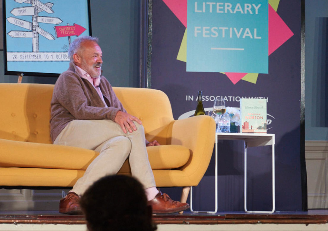 Henley Town Council - celebrity guest sat on sofa at Henley Literary Festival
