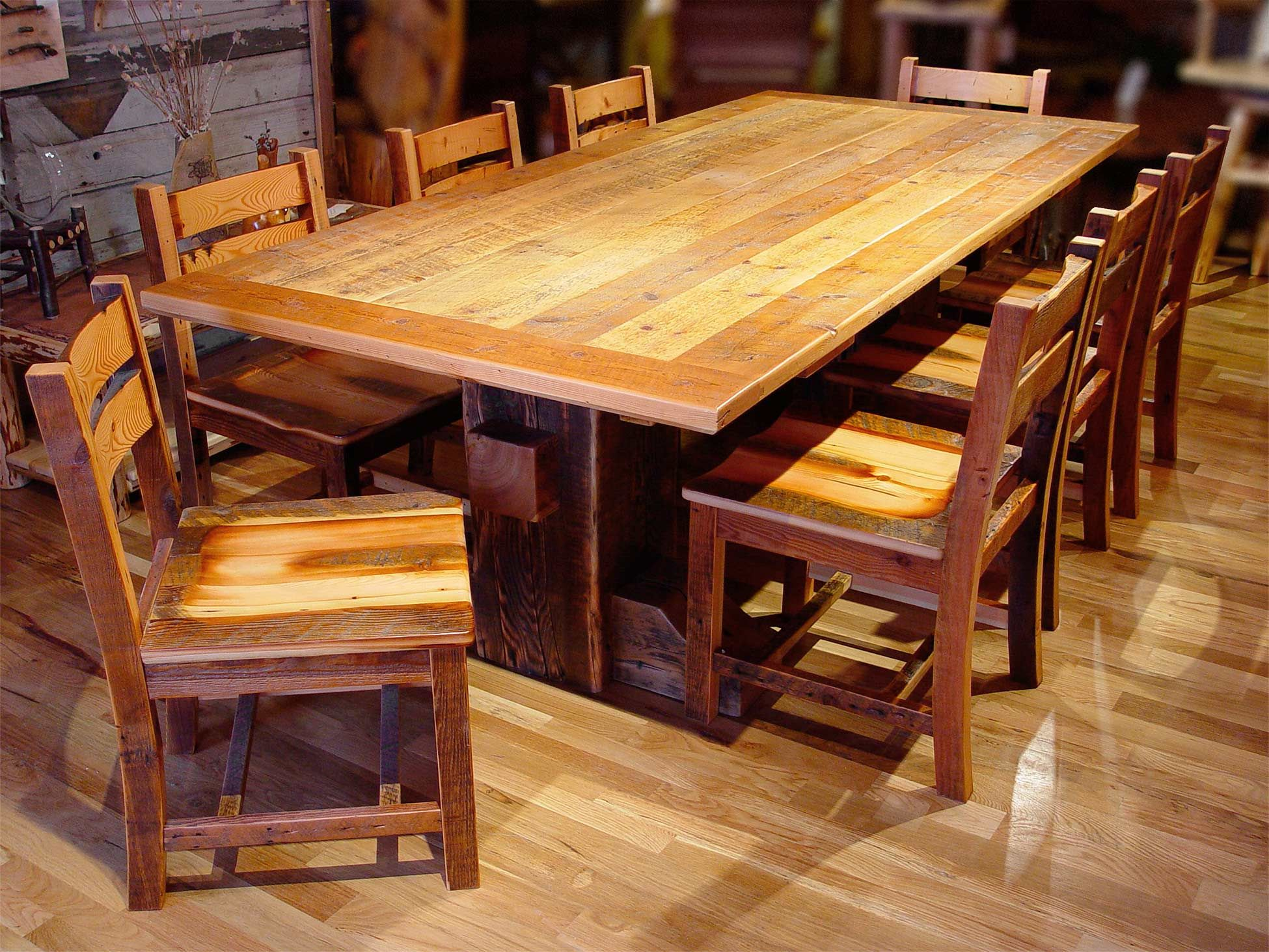 Large furniture ranging from 10 foot dining tables to saloon side chairs.