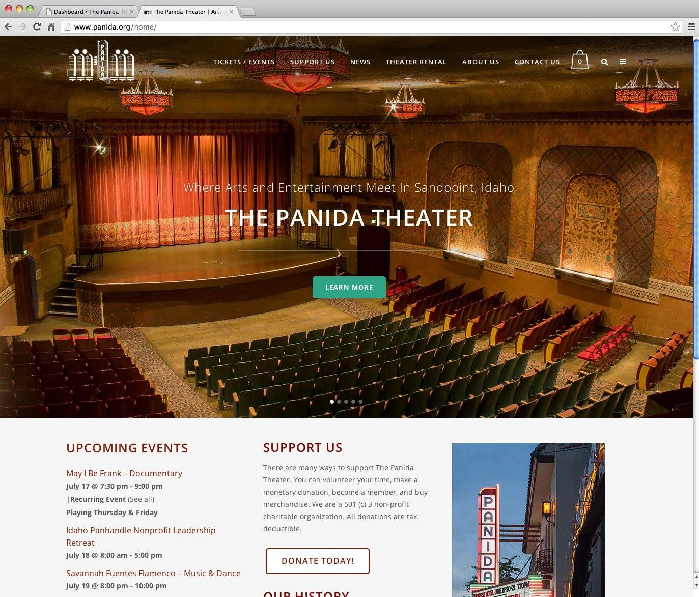 We introduced a responsive website design with ticket sales and secure credit card processing with easy checkout and wide, beautiful slideshows of upcoming events. We re-organized and prioritized the website information to be easier for viewers to see upcoming events as well.