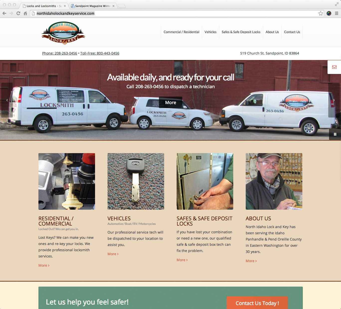 The client needed to have their website style and functionality updated. The information on the site was re-organized in a clear and concise manner. Thus allowing customers to quickly locate North Idaho Lock & Key, and get the services they need.