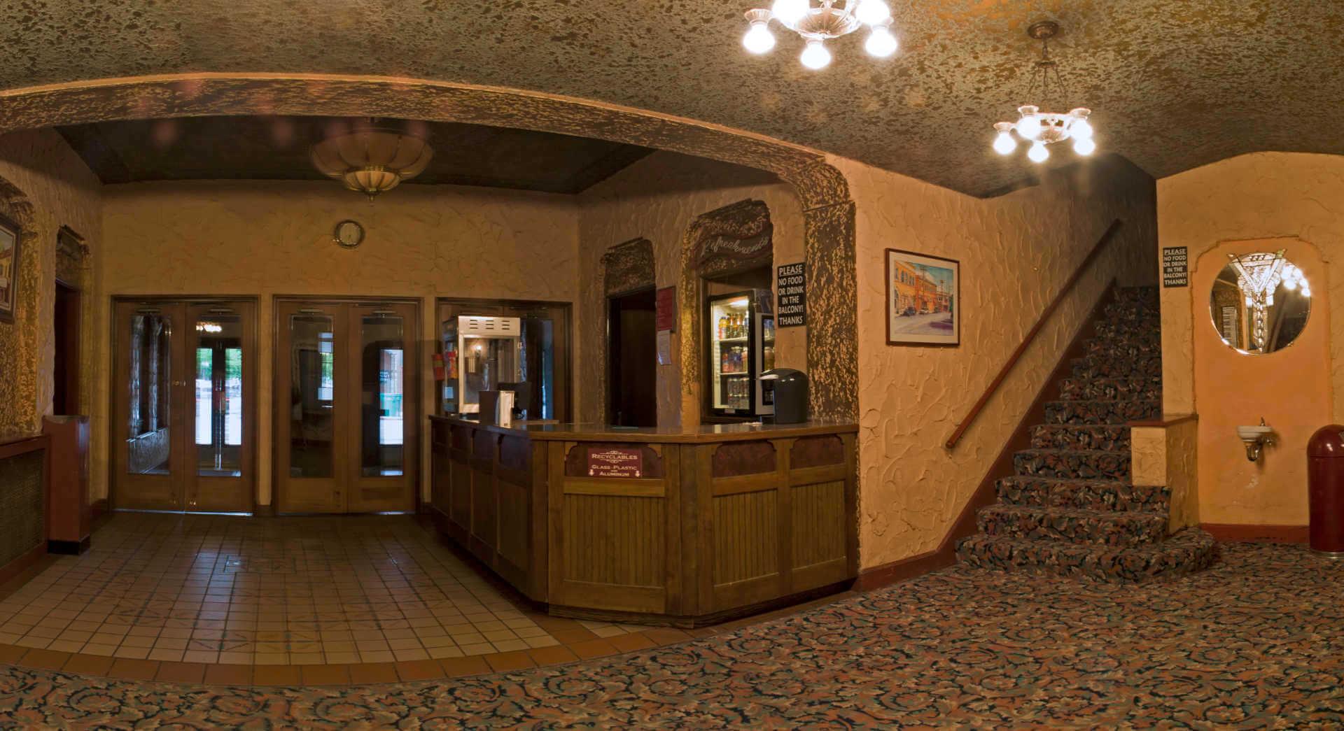 photo inside lobby at Panida Theater related to customer testimonial