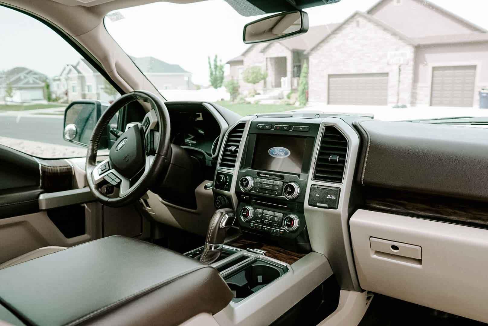 SUV interior after car detailing in Utah.