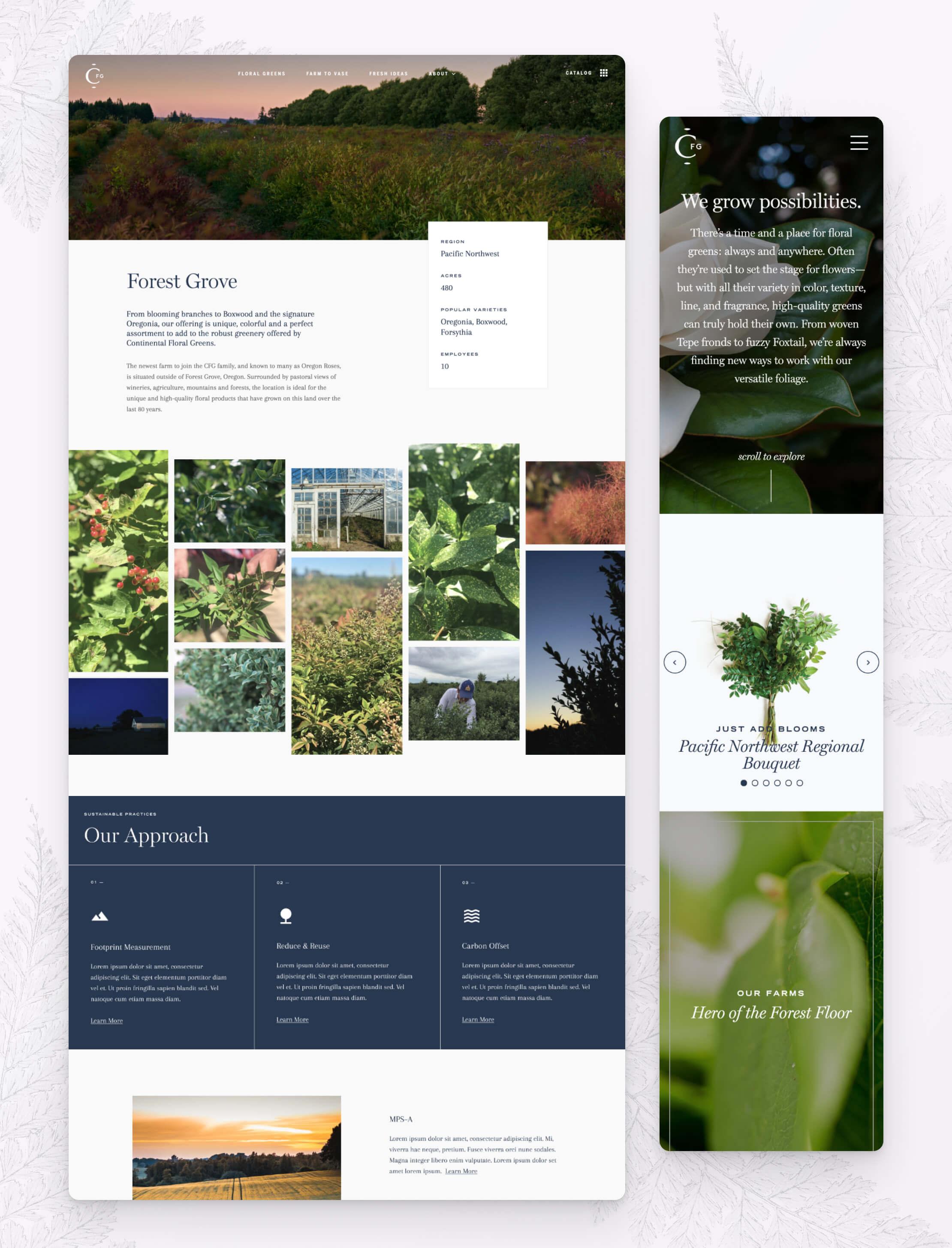 Desktop & mobile screen captures of Continental Floral Green's website pages.