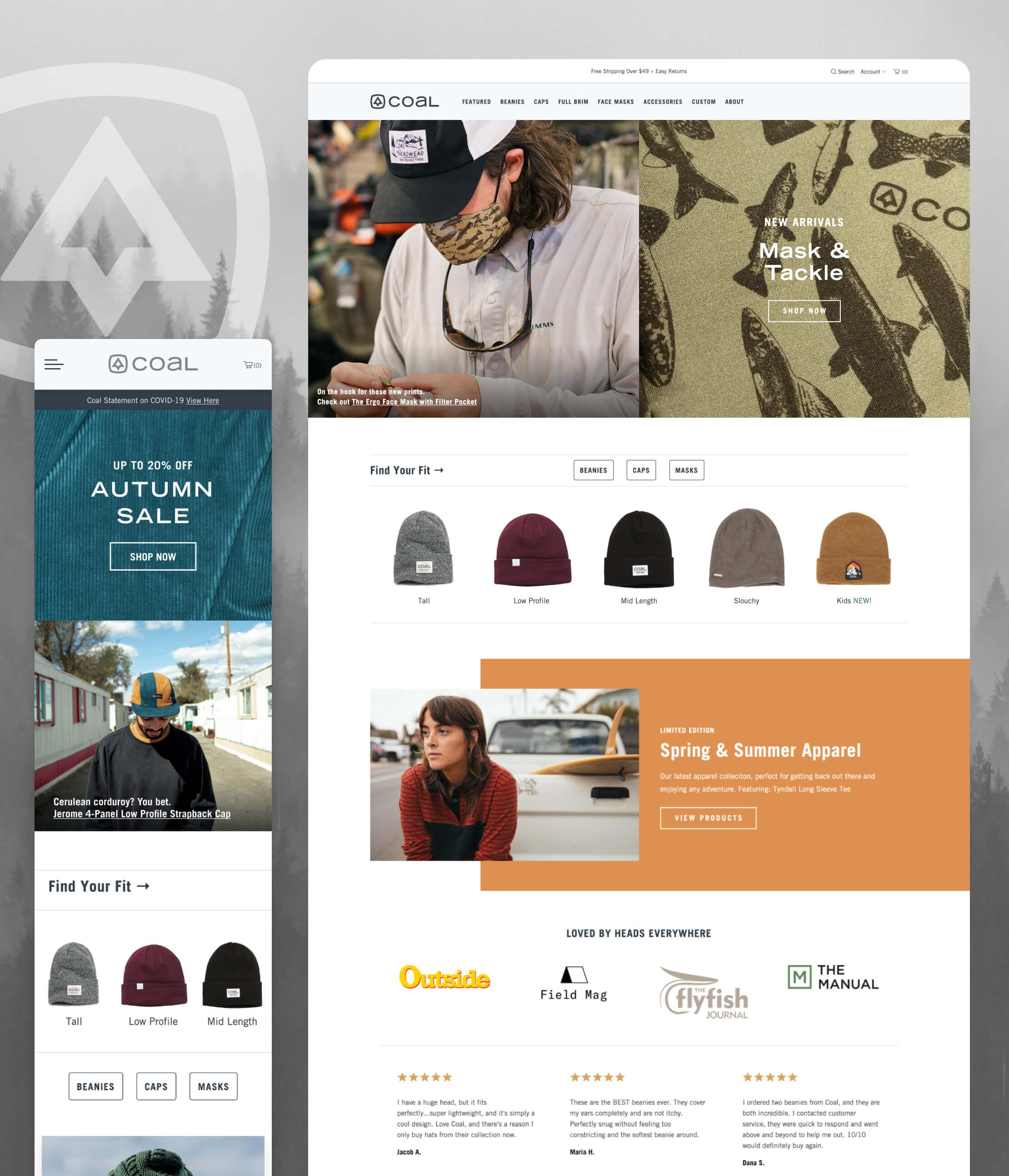 Desktop & mobile screen captures of Coal Headwear's website pages.