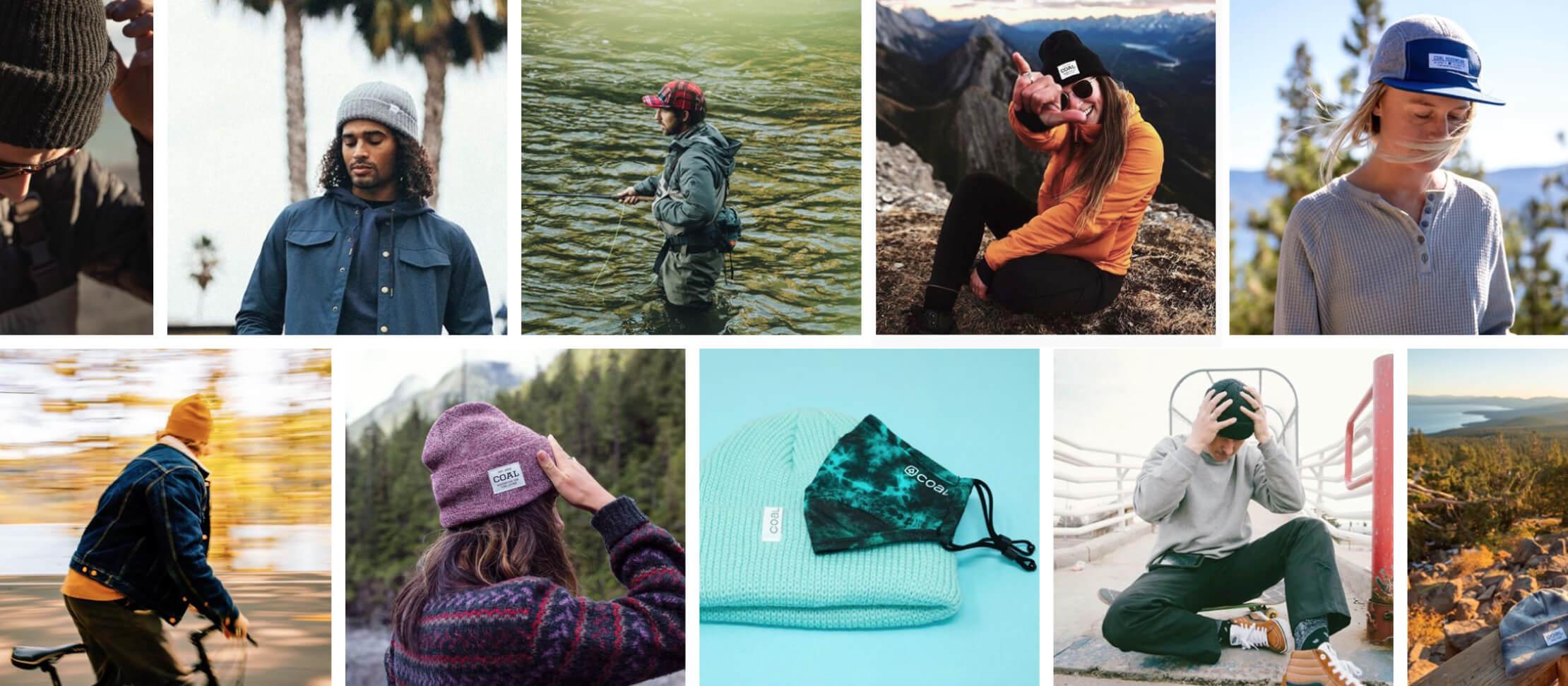 A collection of social media photos from Coal Headwear.