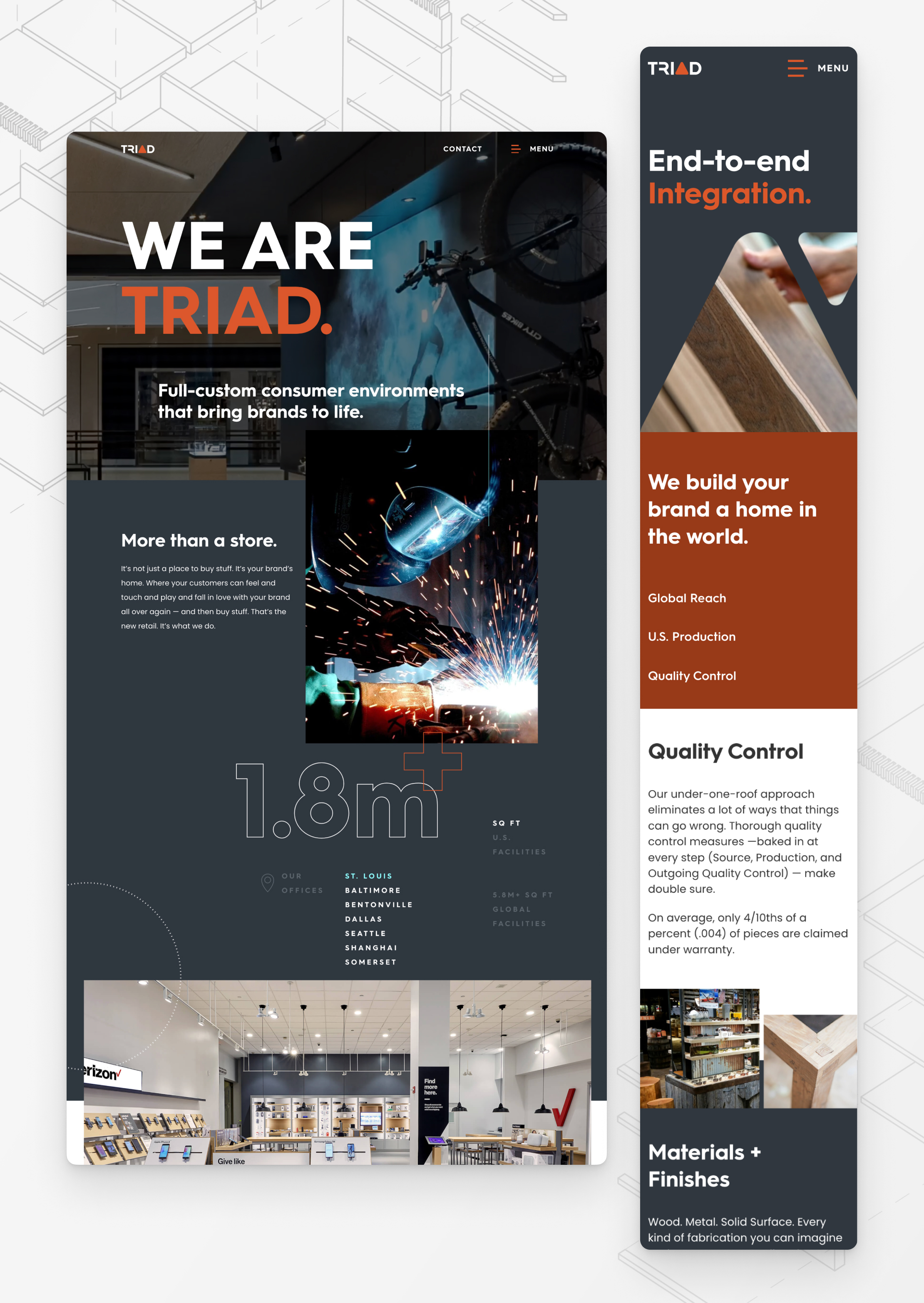 Desktop & mobile screen captures of Triad Manufacturing's website pages.