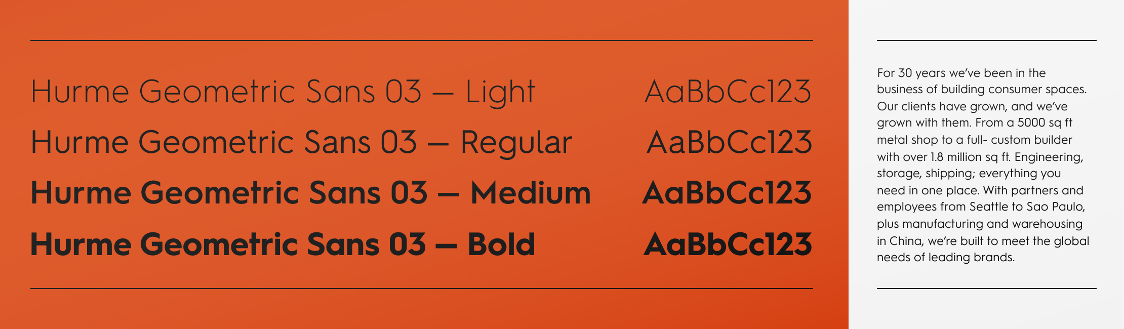 Displaying the type styles for Triad Manufacturing's brand guidelines.
