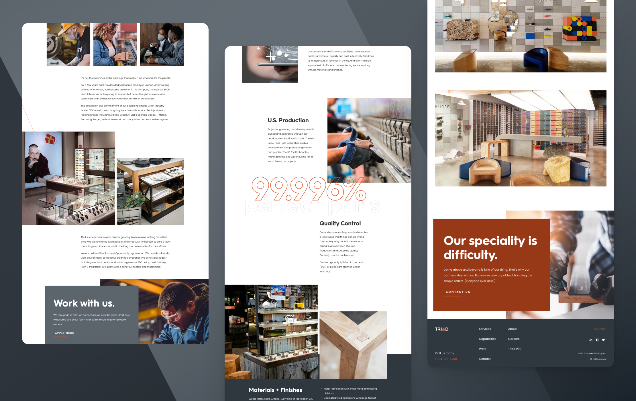 Various screen captures of Triad Manufacturing's website interior pages.