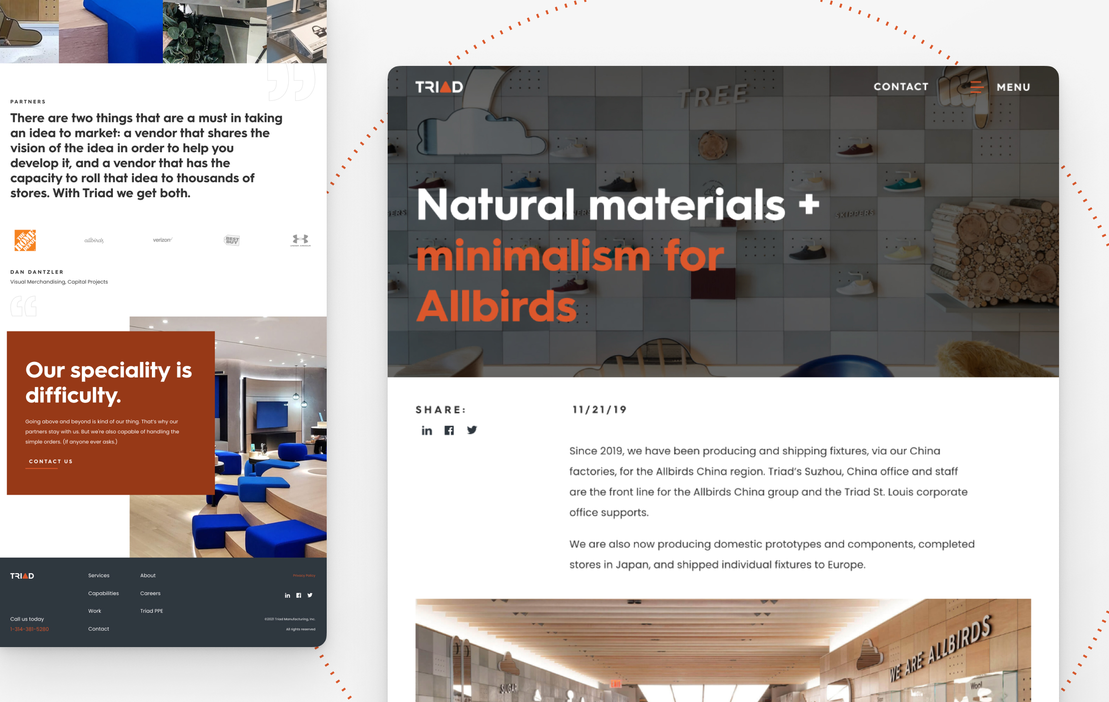 Additional miscellaneous screen captures of Triad Manufacturing's website interior pages.