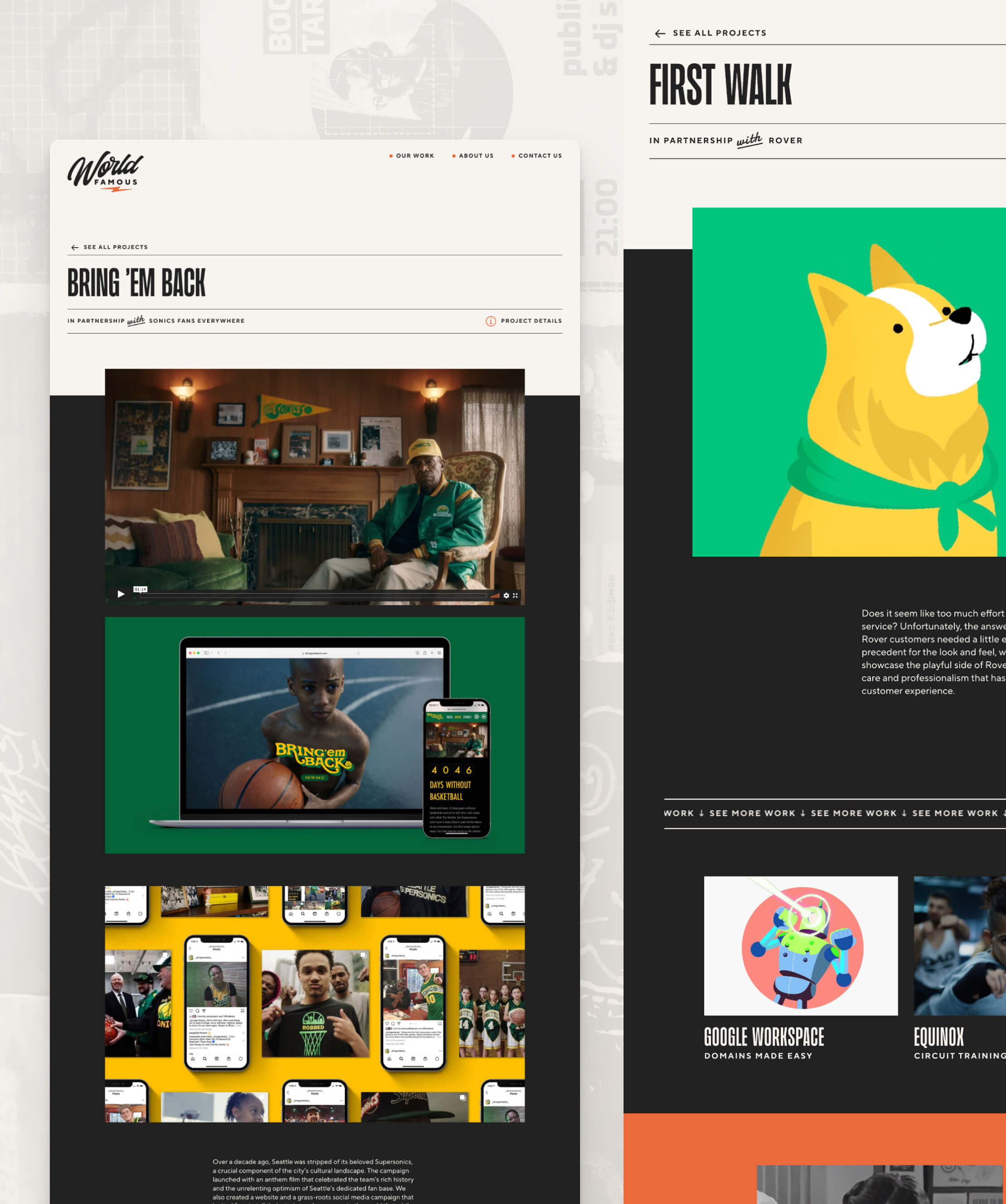 More screenshots of the pages from the World Famous website.