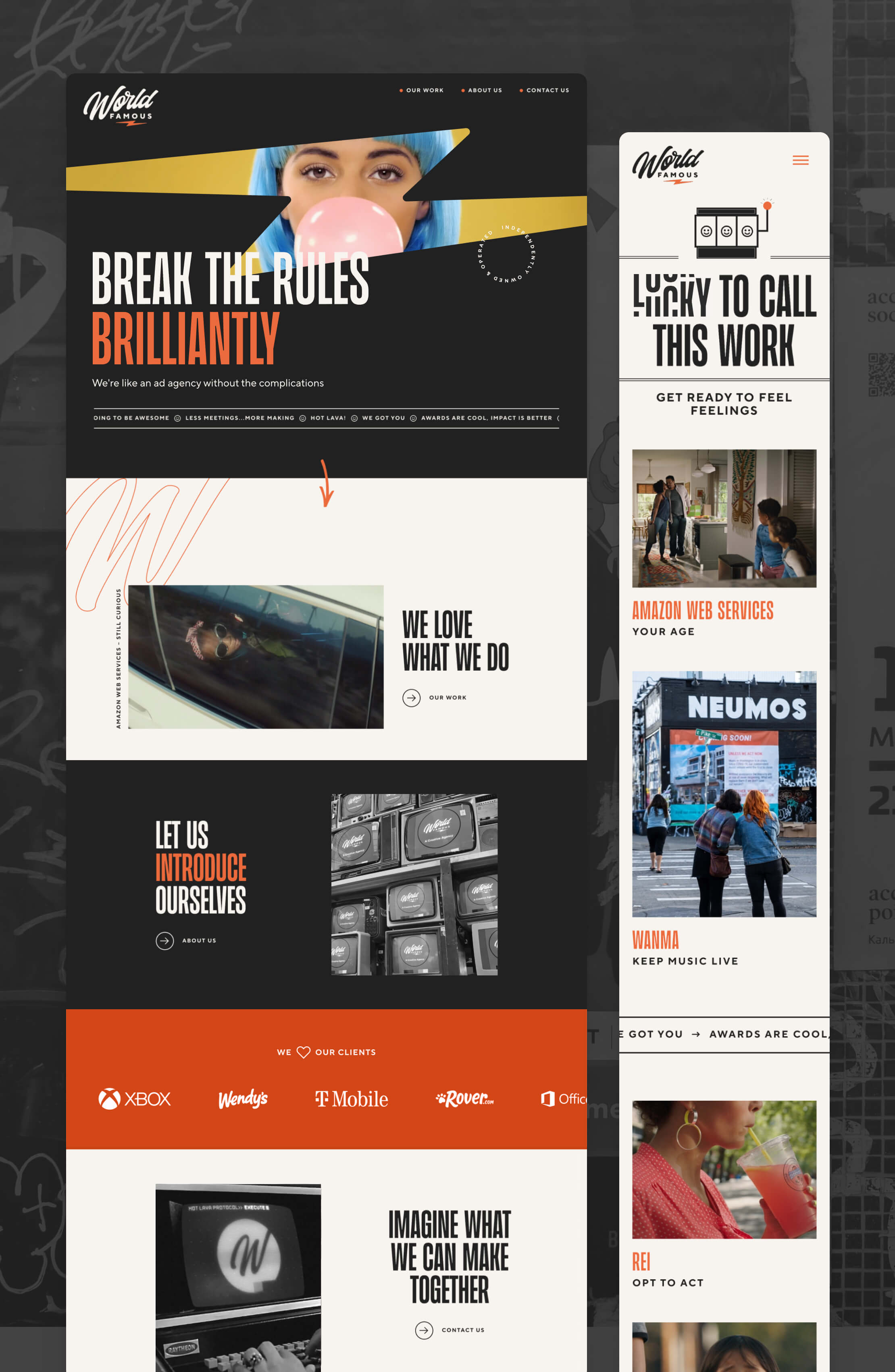 Screenshots of the home page and work page for World Famous.