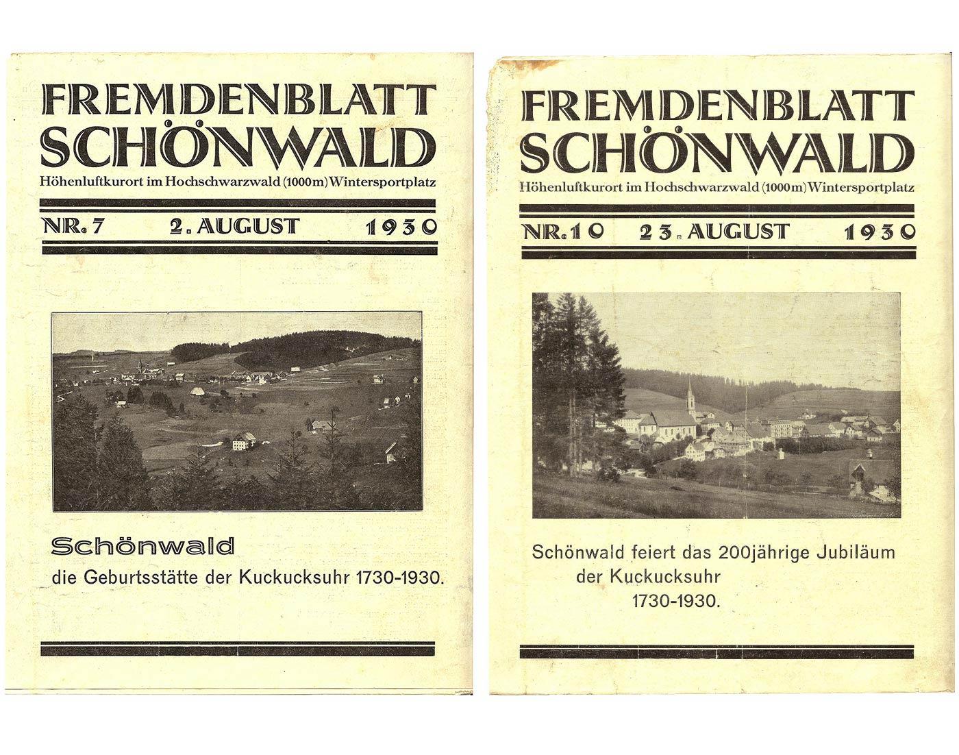 Fremdenblatt Schönwald