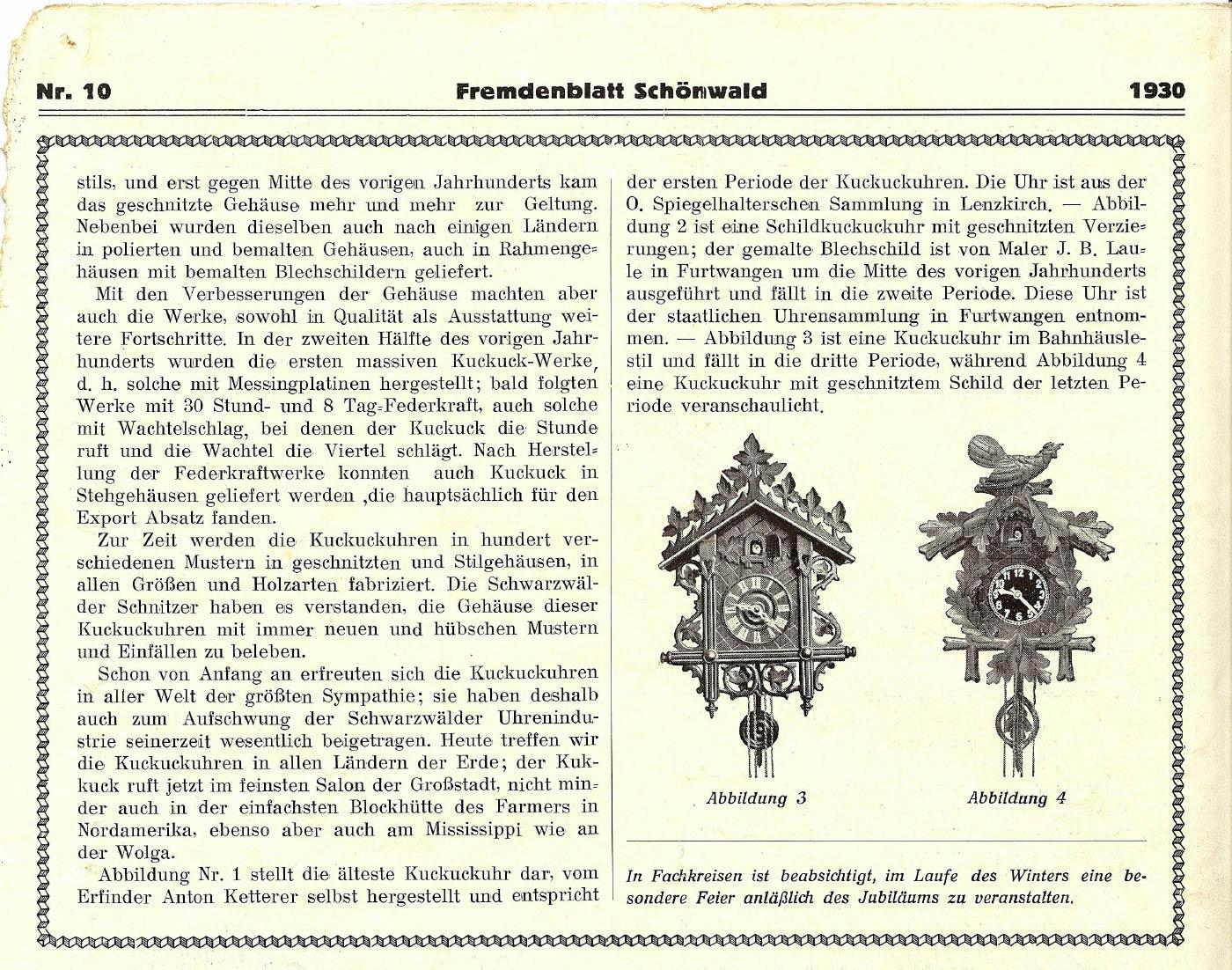 Fremdenblatt Schönwald Seite 2