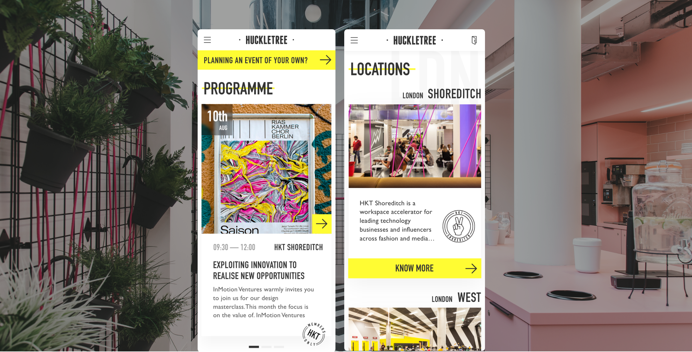 A picture showing a screenshot of huckletree website