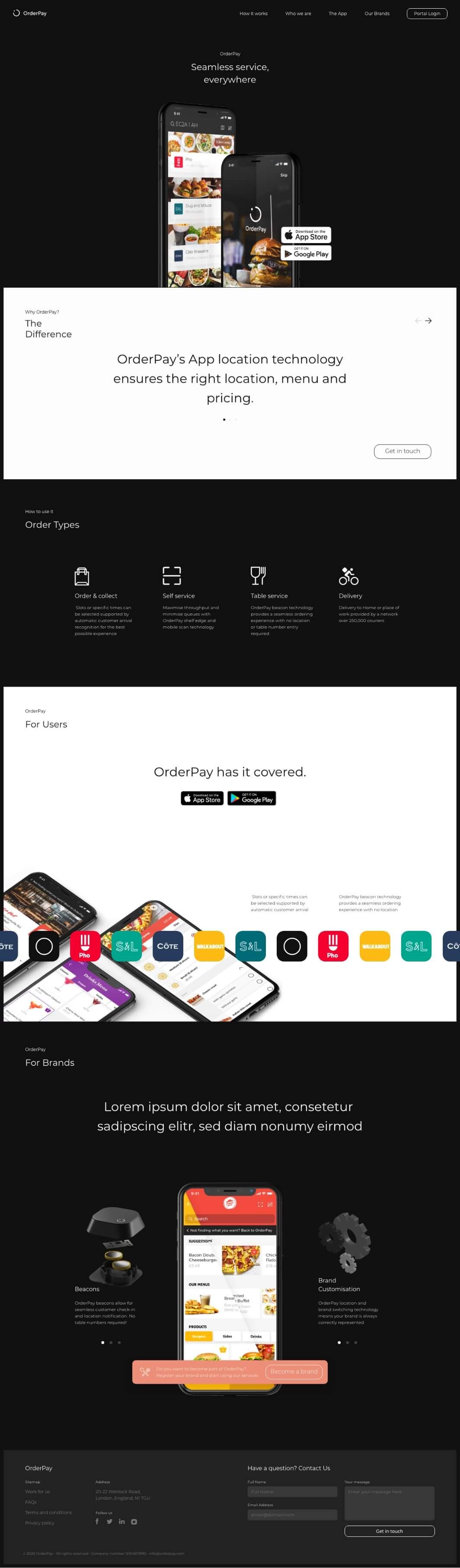 Orderpay website screen