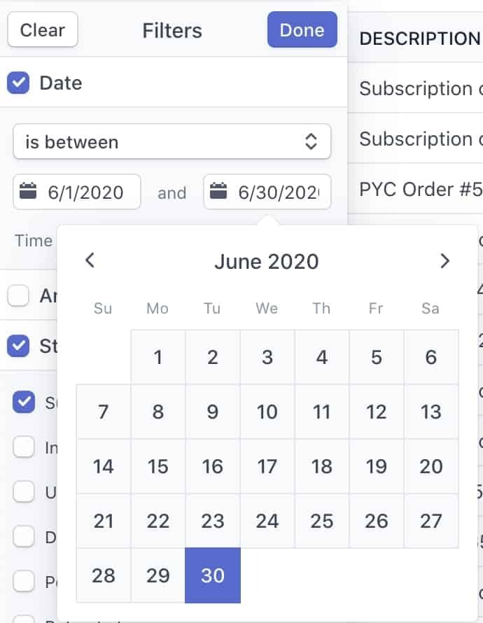 Stripe Calendar Filter