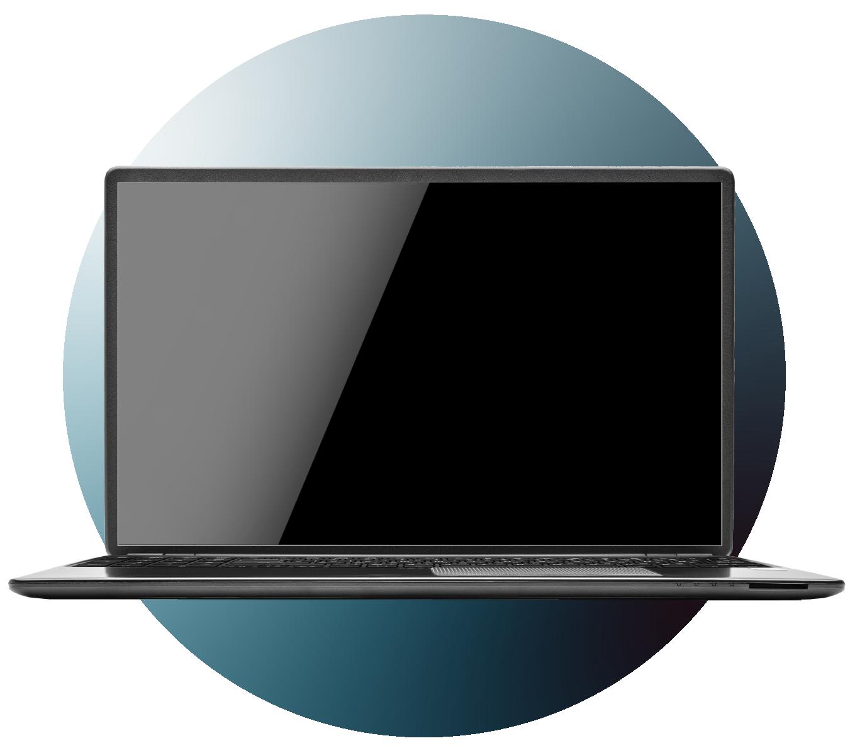 Laptop over gradient circle