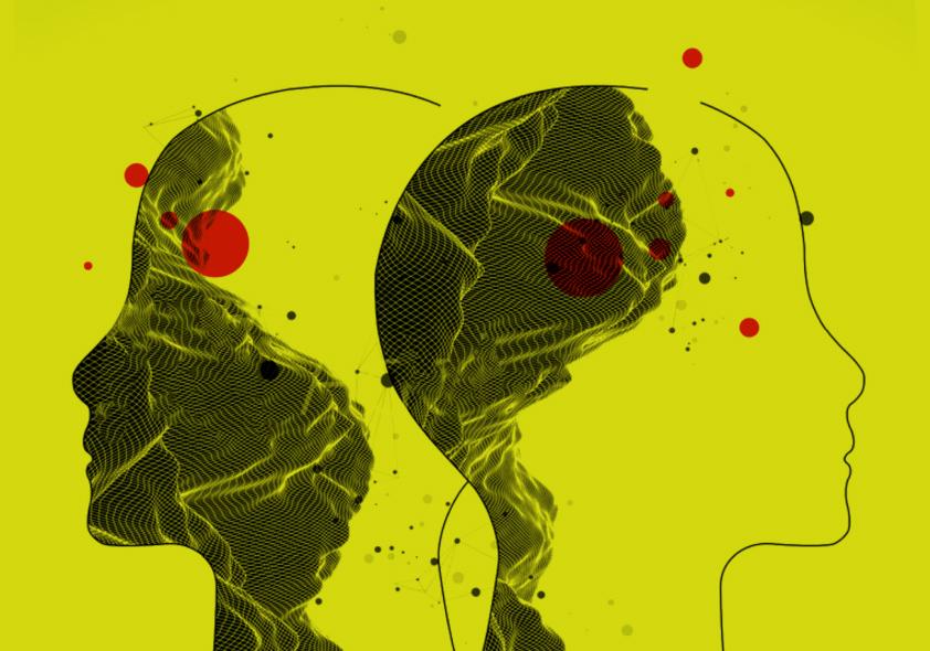 Silueta abstracta de 2 cabezas mirando en direcciones diferentes