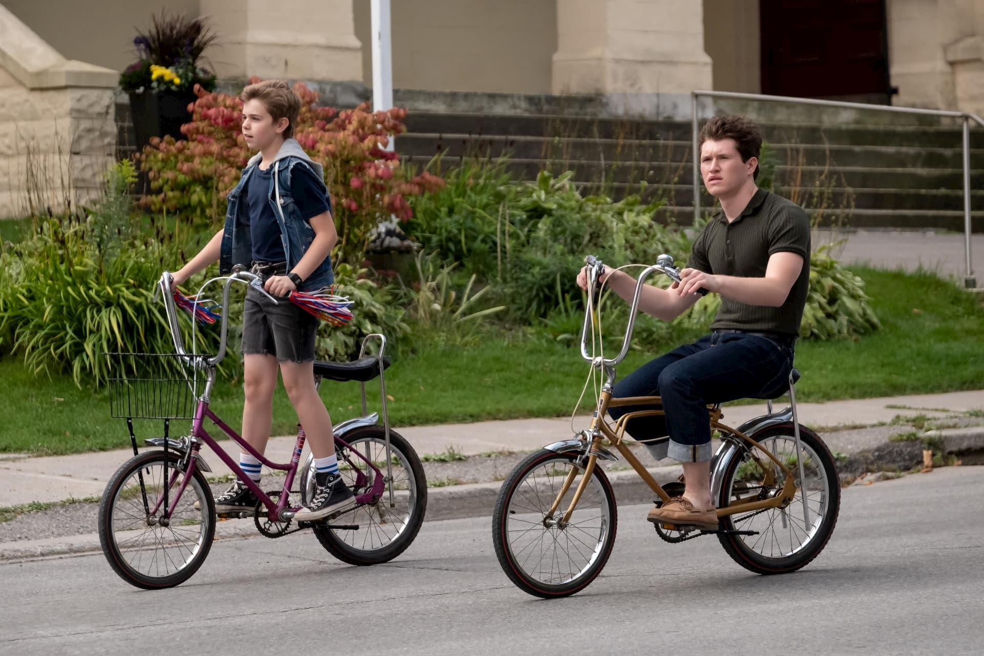 2 boys riding 80's vintage banana bikes