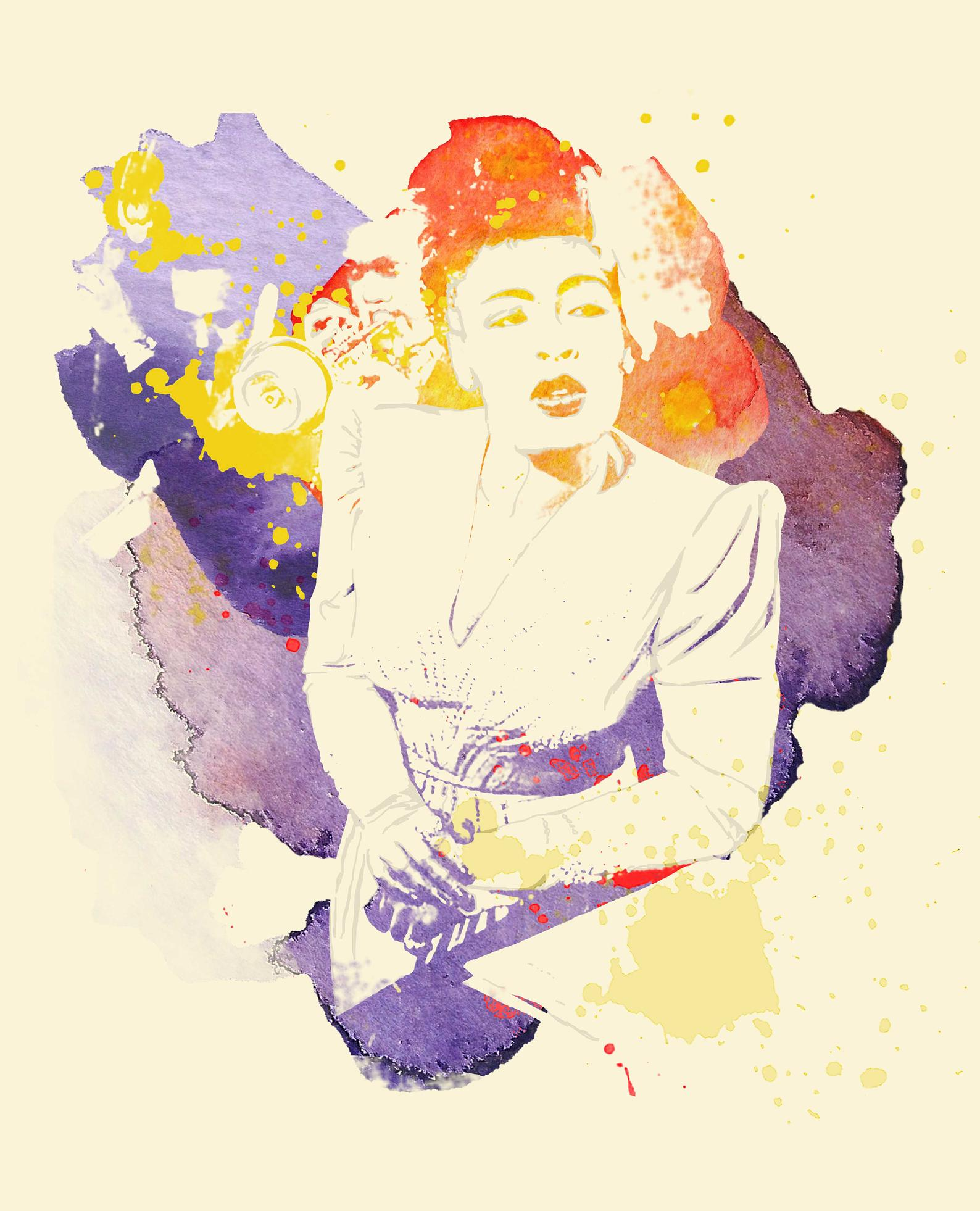graphic arts colorful rendition of billie Holiday