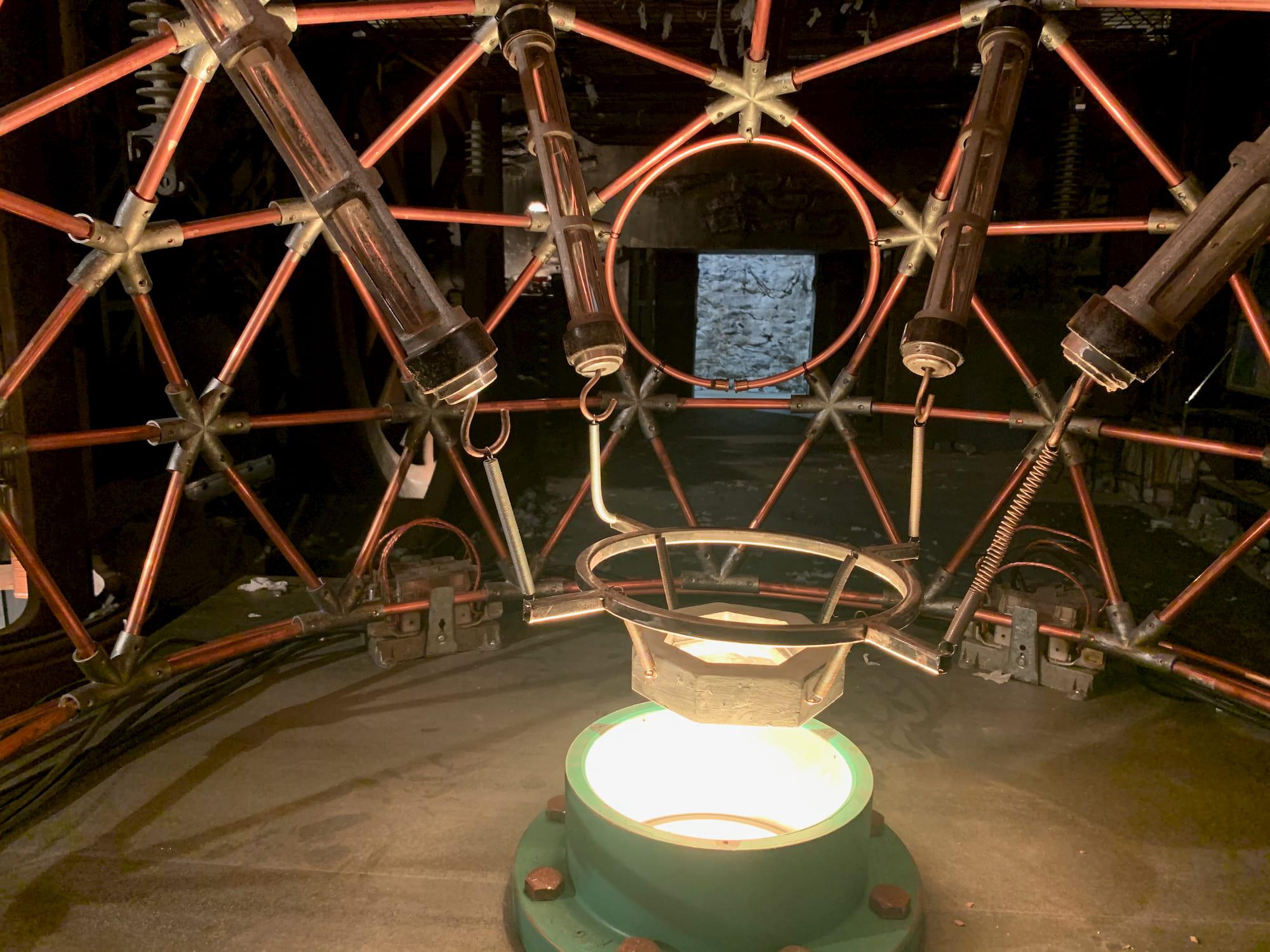 futuristic structure made of coper