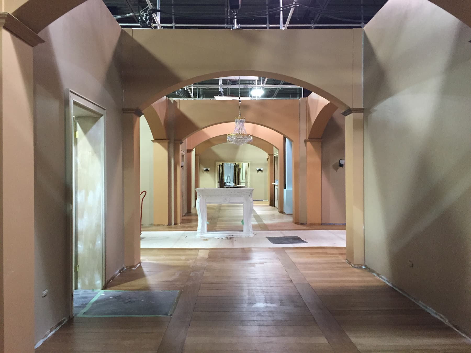 set construction of hallway in big mansion