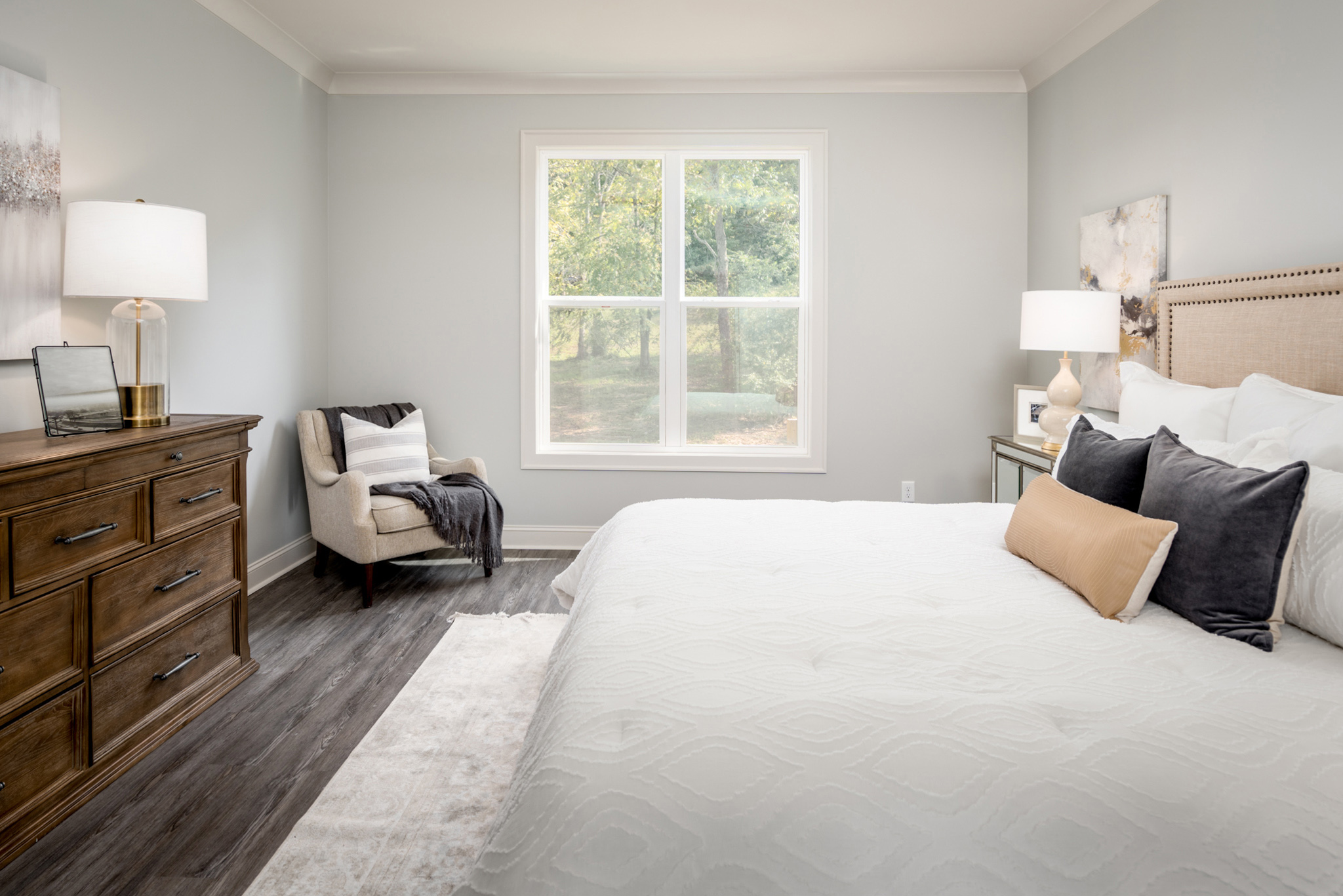 Master Bedroom with staged interior design