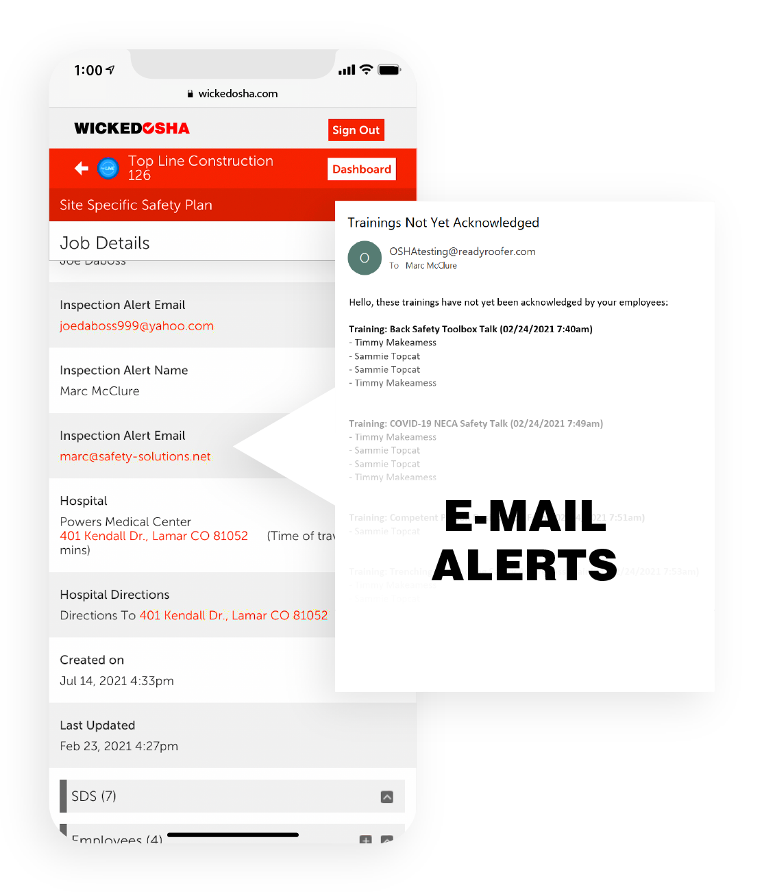 Screenshot of Wicked OSHA app showcasing job details information with a white box to the right showing email alerts that are sent based on trainings not being completed