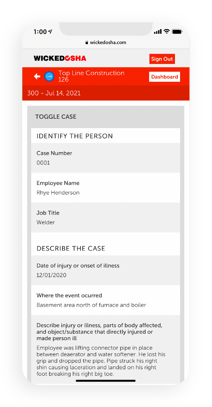 Screenshot of Wicked OSHA app showcasing a specific case's details