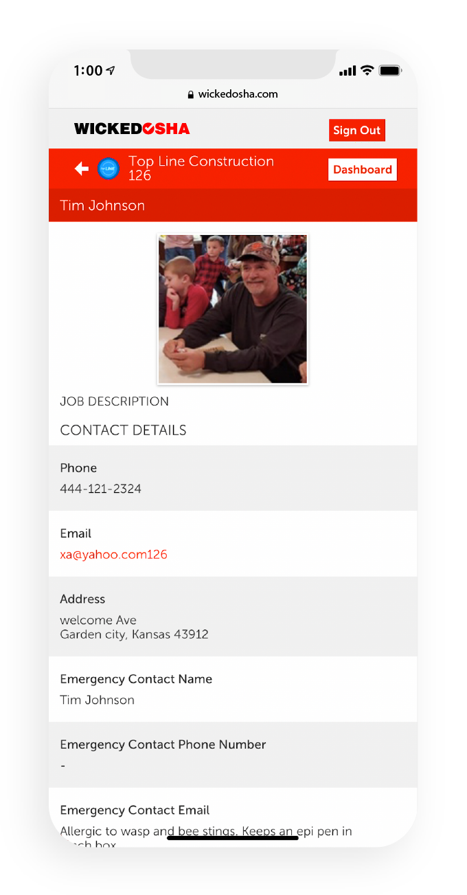 Screenshot of the Wicked OSHA app displaying a users profile page