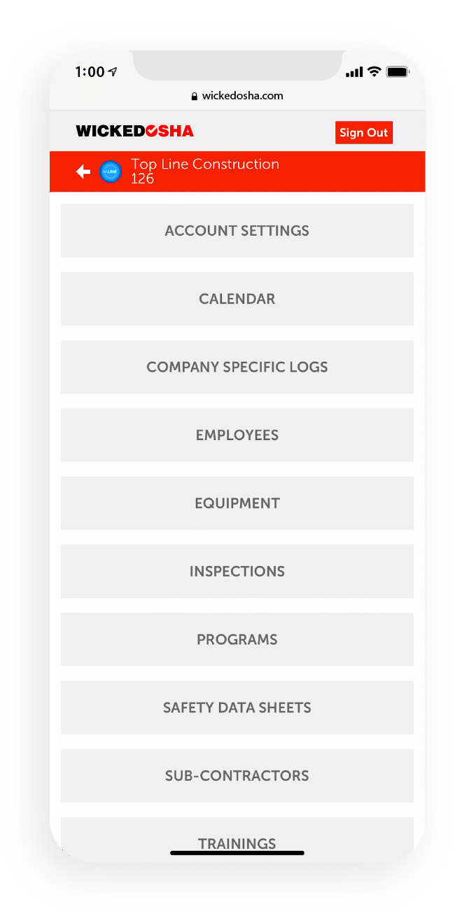 Screenshot of the Wicked OSHA app displaying the navigation leading to various pages and sections of the app