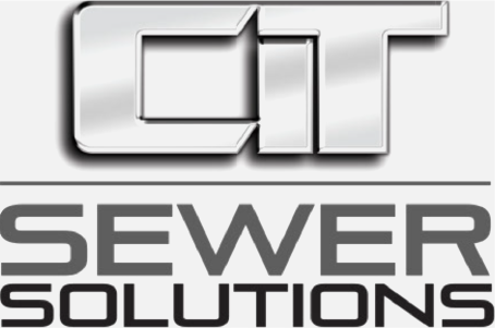 Grey version of CIT Sewer Solutions logo. Graphic version of CIT over sewer solutions text