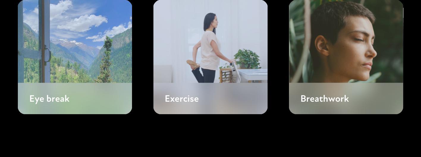 Cuely activities: eye break, exercise, and breathwork