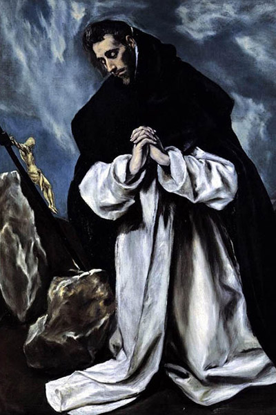 saint with his hands praying