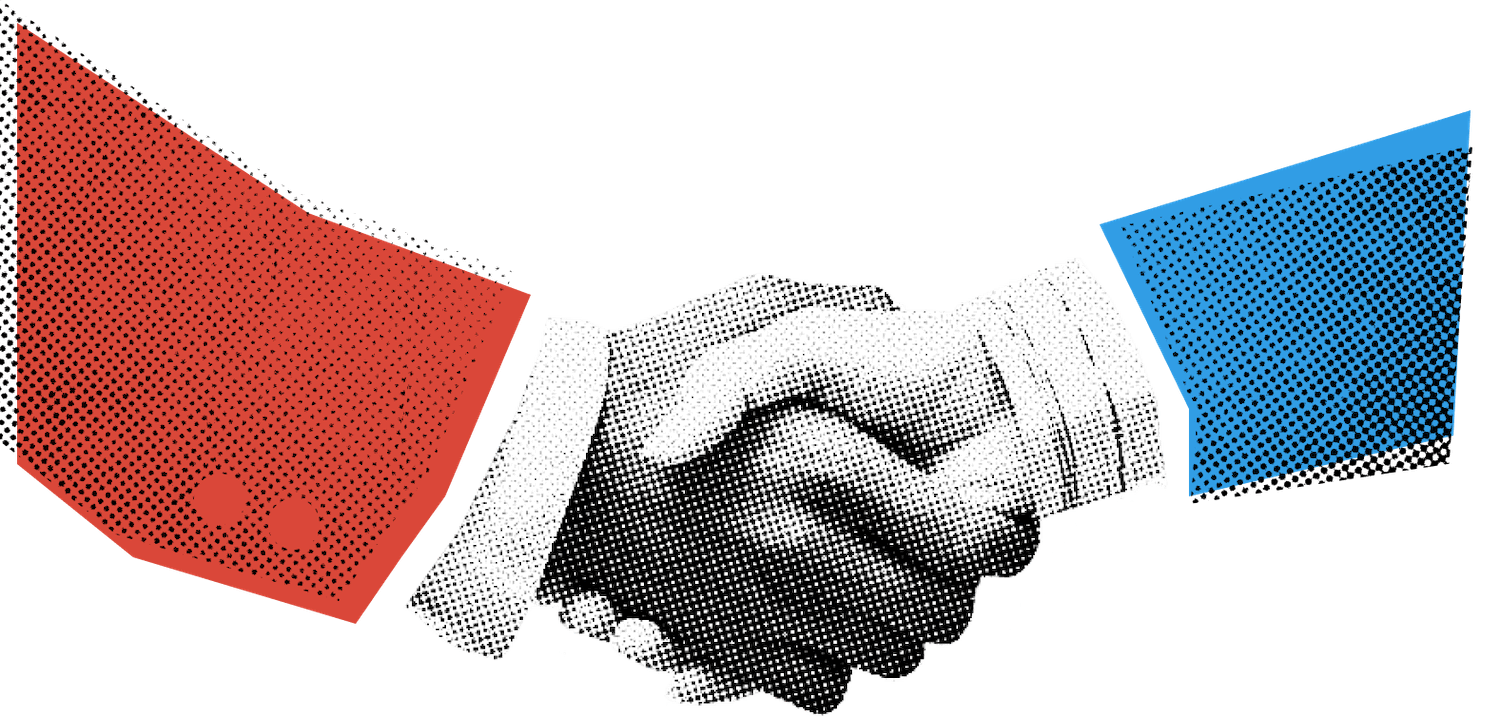 Red and Blue Shaking Hands Illustration