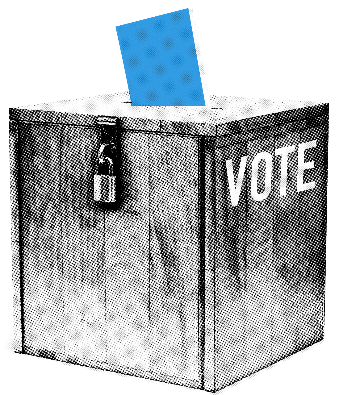 Wood box with cyan ballot coming out of it, a paddle lock on the front, and the word VOTE on the side