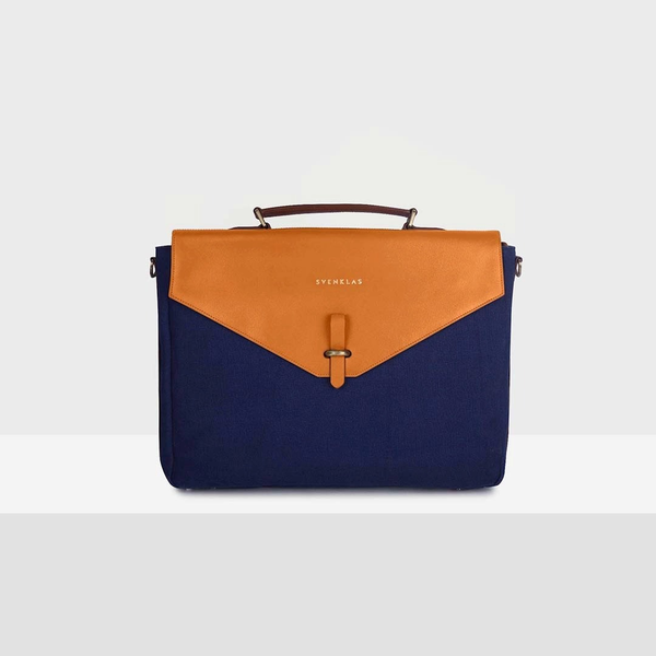 Svenklas Astrid Cognac Blue Briefcase
