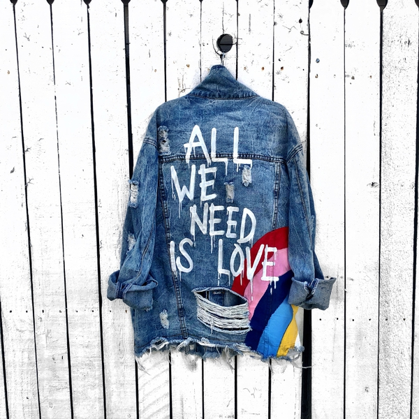 'All We Need' Hand Painted Denim Jacket