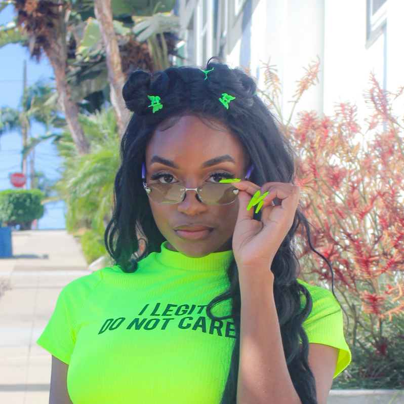 """Lizzie"" Lime Green Heart Sunglasses"
