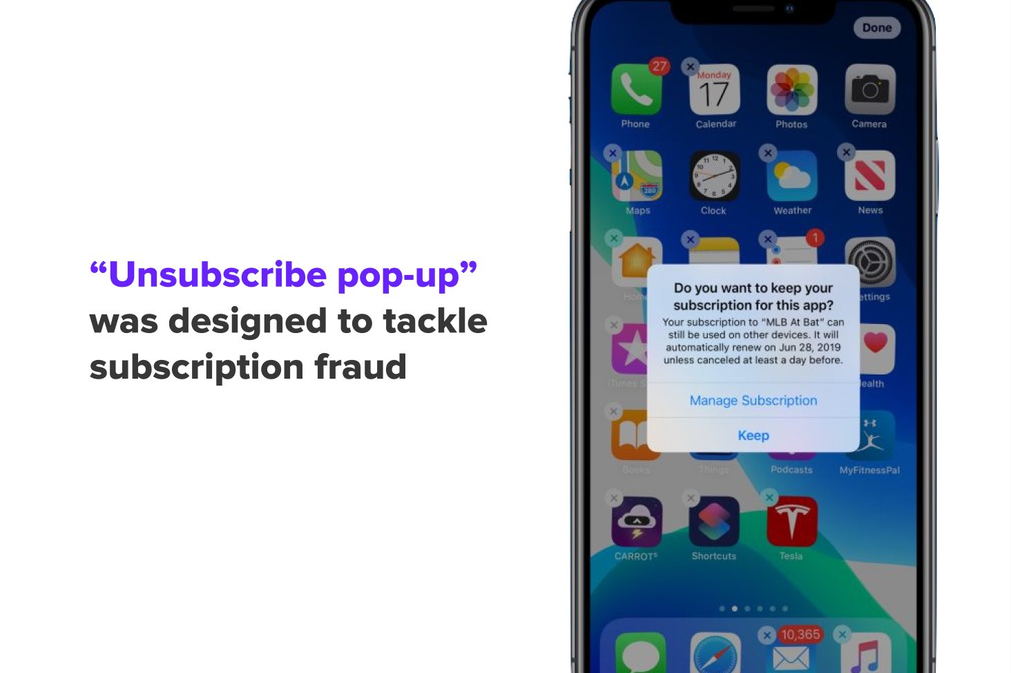 Unsubscribe pop-up on iOS