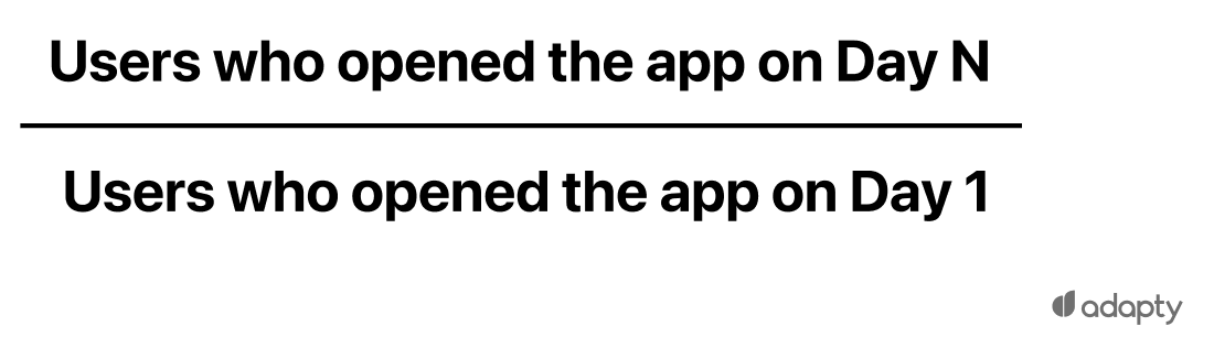 Number of users who opened the app on the N day Number of users who opened the app on the N day / Number of users who opened the app on the day 0