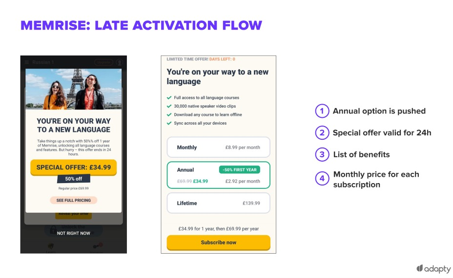 Late activation flow for Memrise