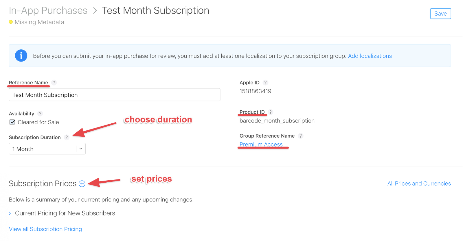 Create a subscription in App Store Connect