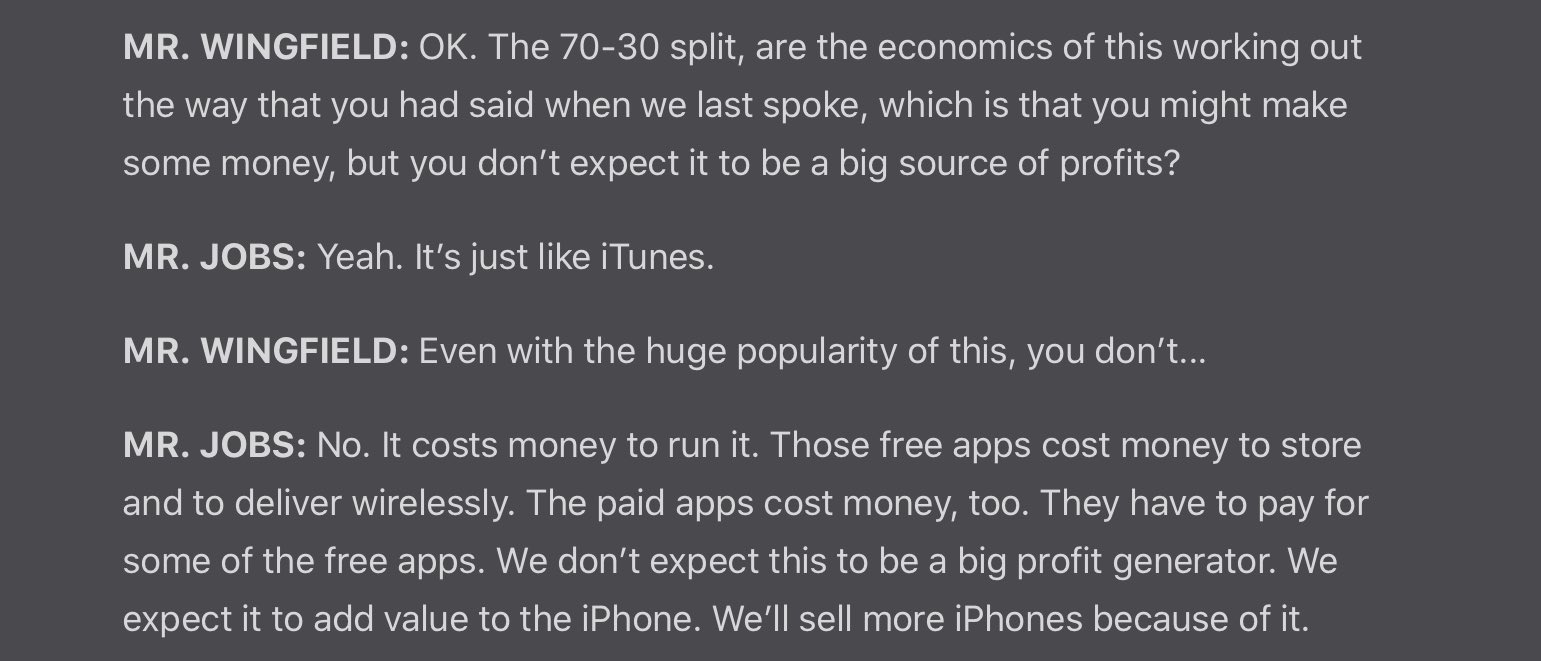 Excerpt from the article by WSJ where Steve Jobs came up with 30% tax