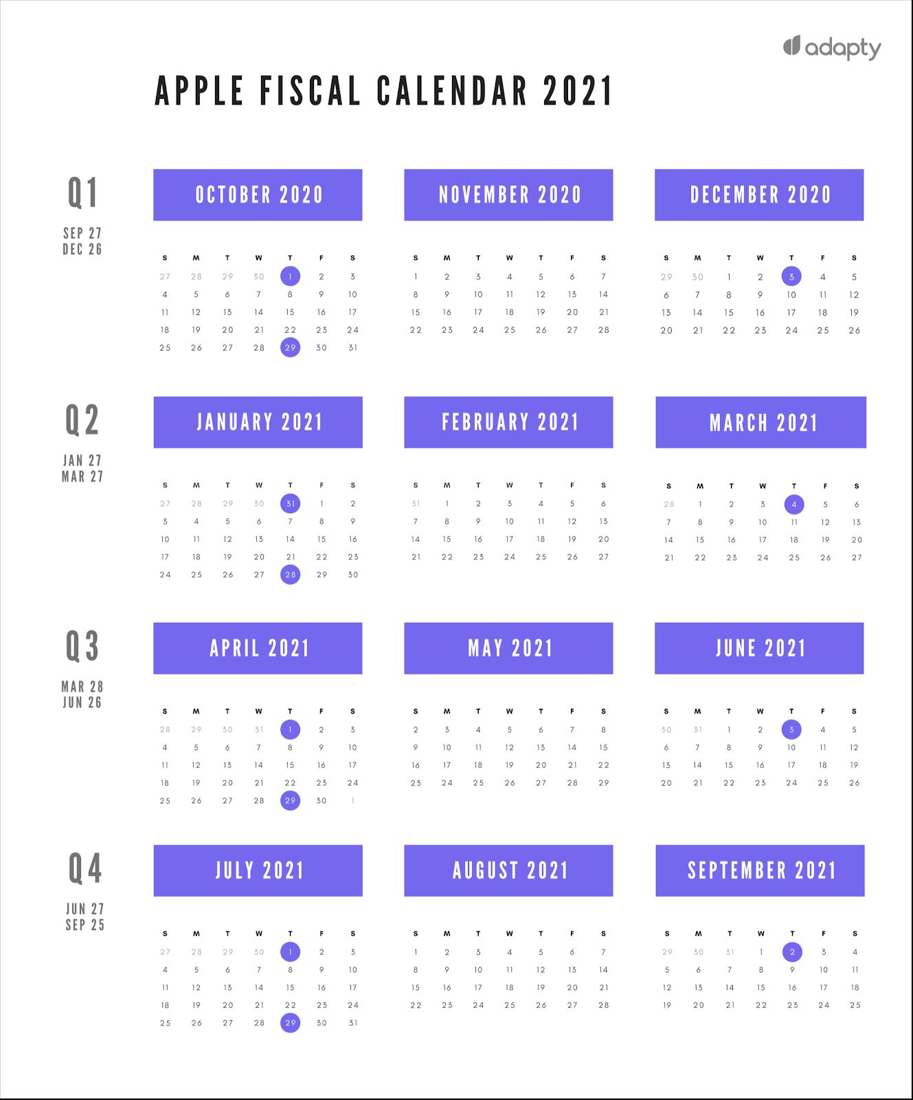 Apple fiscal calendar 2021