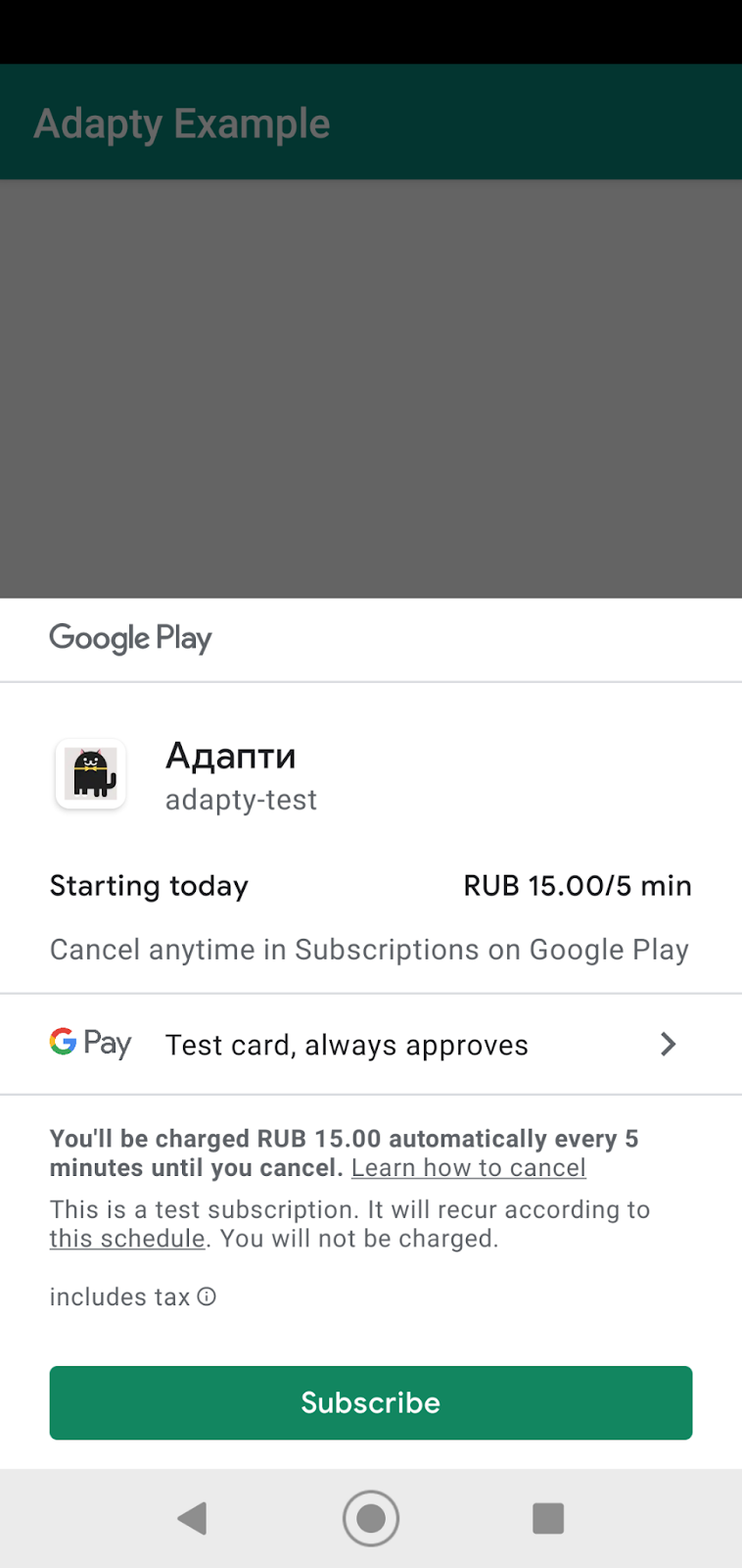 google play purchase screen