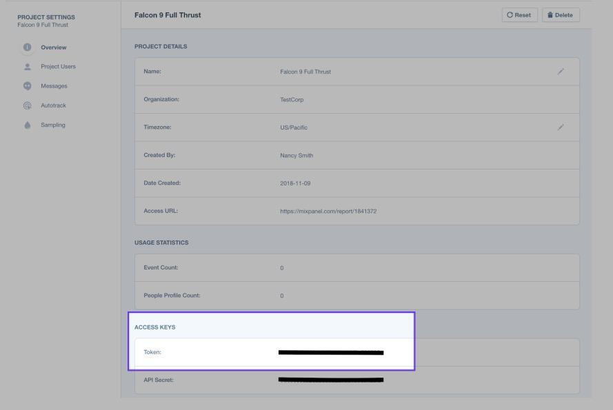 mixpanel project settings